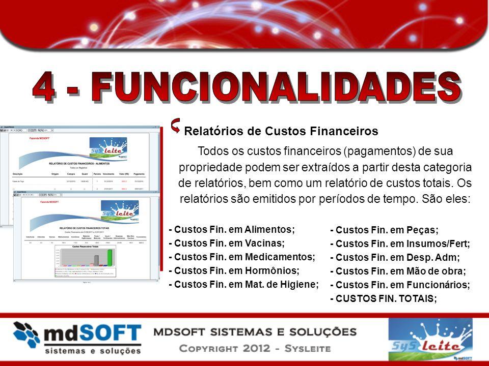 4 - FUNCIONALIDADES Relatórios de Custos Financeiros