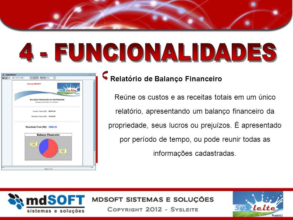 4 - FUNCIONALIDADES Relatório de Balanço Financeiro
