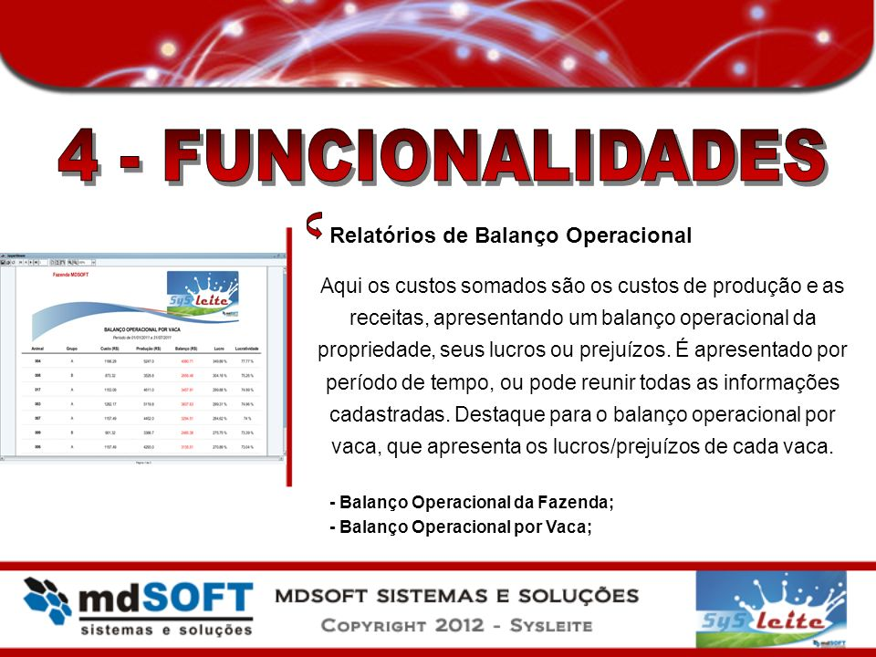 4 - FUNCIONALIDADES Relatórios de Balanço Operacional