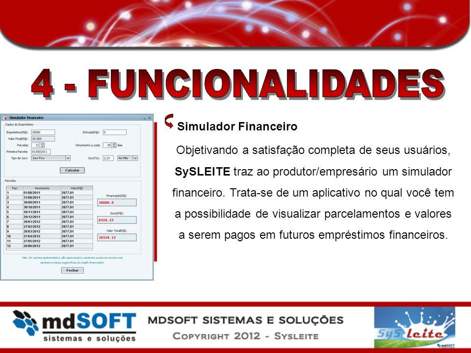 4 - FUNCIONALIDADES Simulador Financeiro