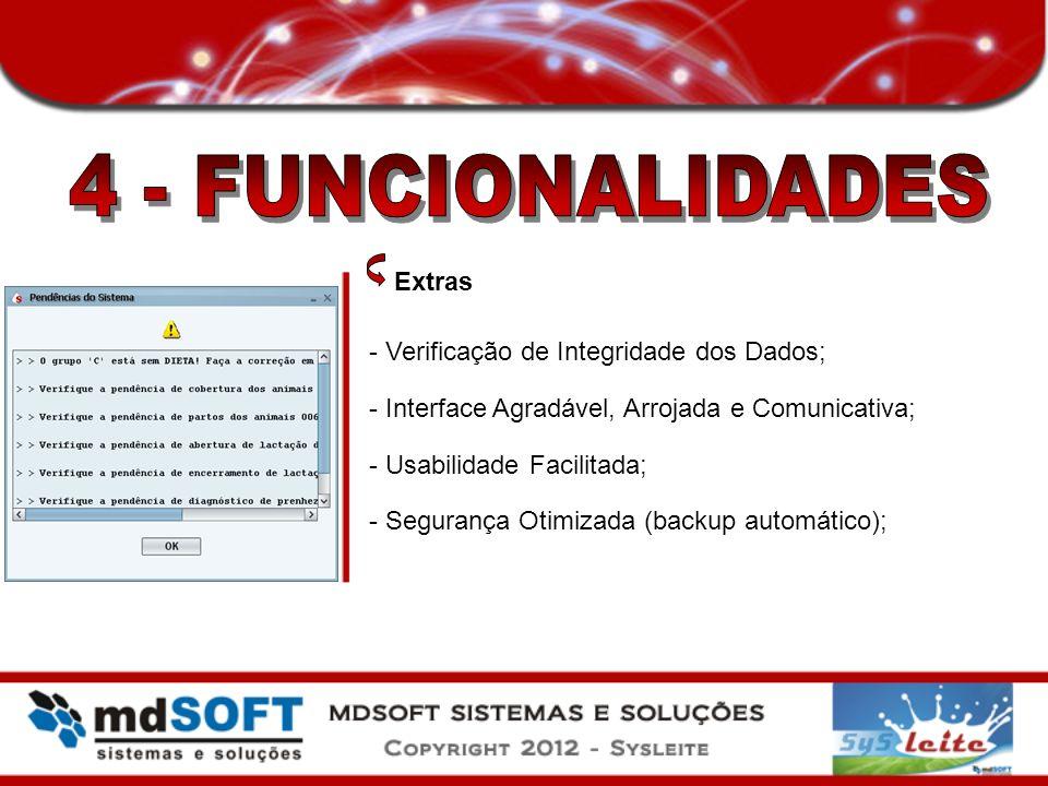 4 - FUNCIONALIDADES Extras - Verificação de Integridade dos Dados;