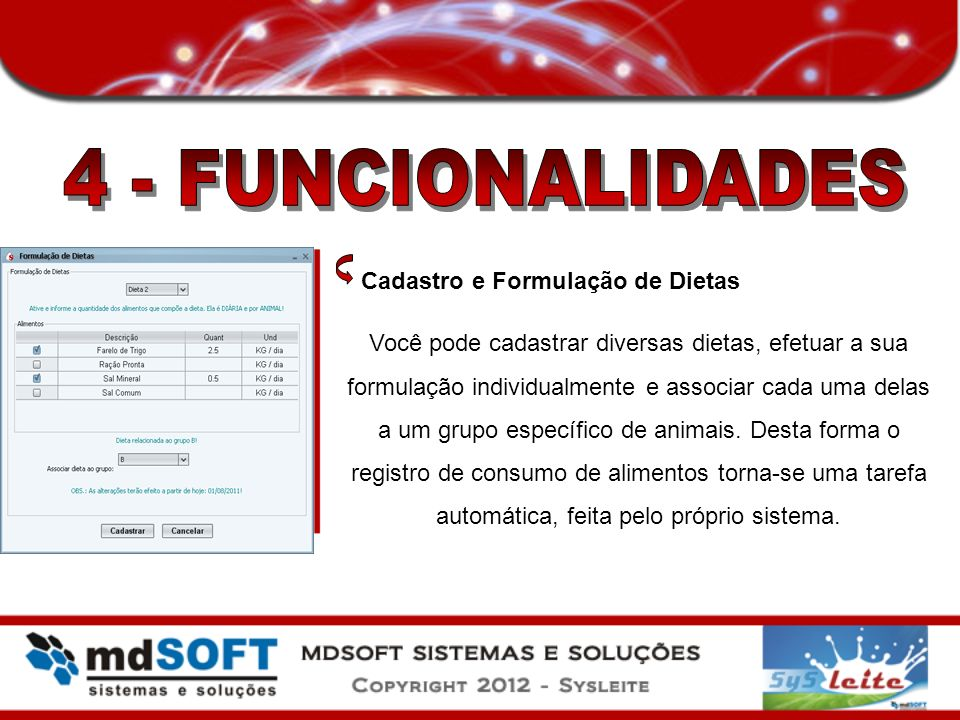 4 - FUNCIONALIDADES Cadastro e Formulação de Dietas