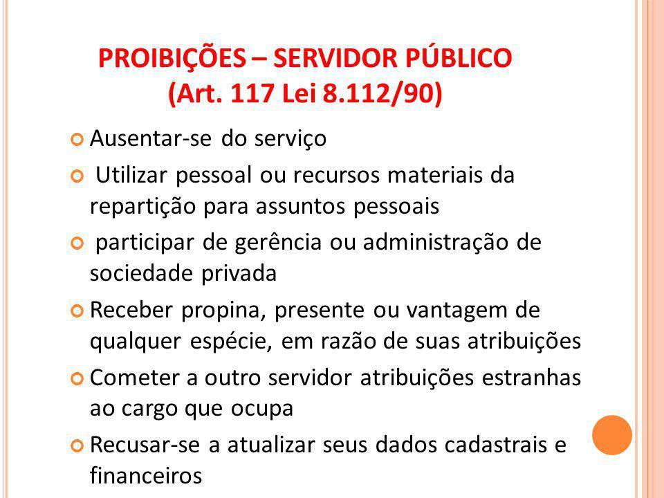 PROIBIÇÕES – SERVIDOR PÚBLICO (Art. 117 Lei 8.112/90)