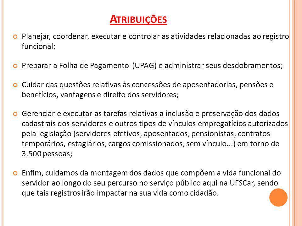 Atribuições Planejar, coordenar, executar e controlar as atividades relacionadas ao registro funcional;