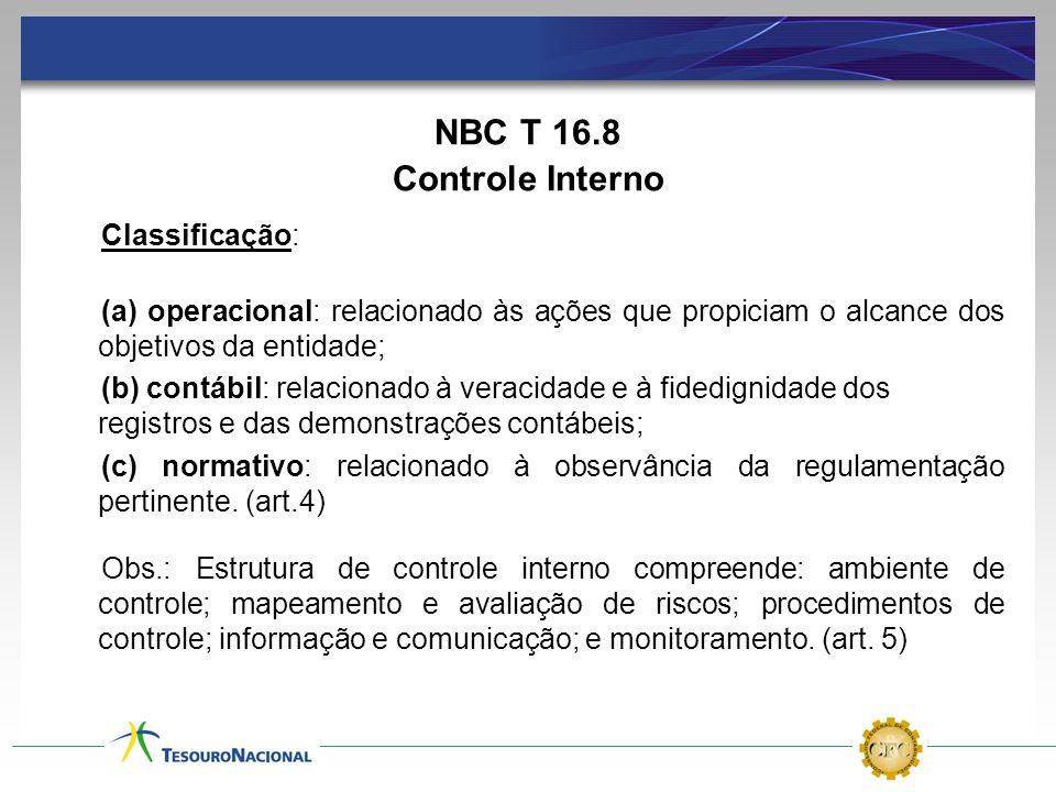 NBC T 16.8 Controle Interno Classificação: