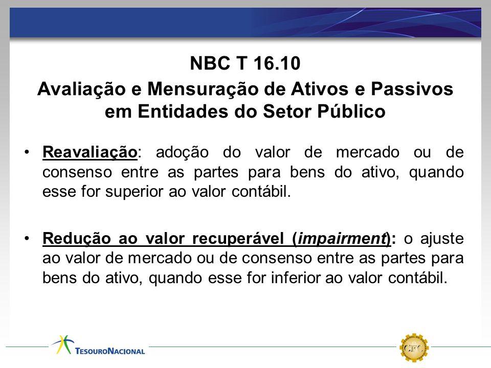 NBC T 16.10 Avaliação e Mensuração de Ativos e Passivos em Entidades do Setor Público.