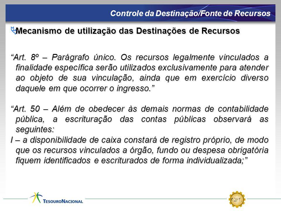 Mecanismo de utilização das Destinações de Recursos