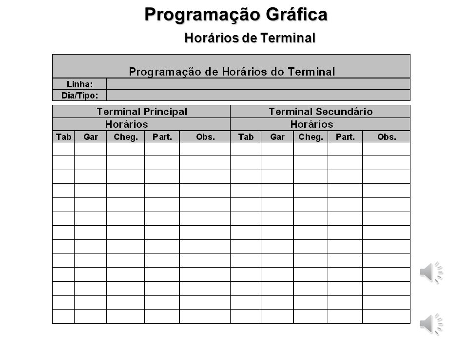 Programação Gráfica Horários de Terminal