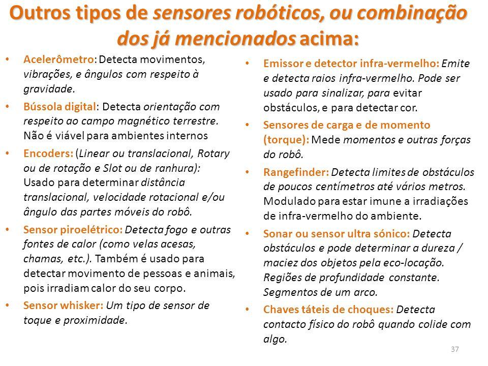 Outros tipos de sensores robóticos, ou combinação dos já mencionados acima: