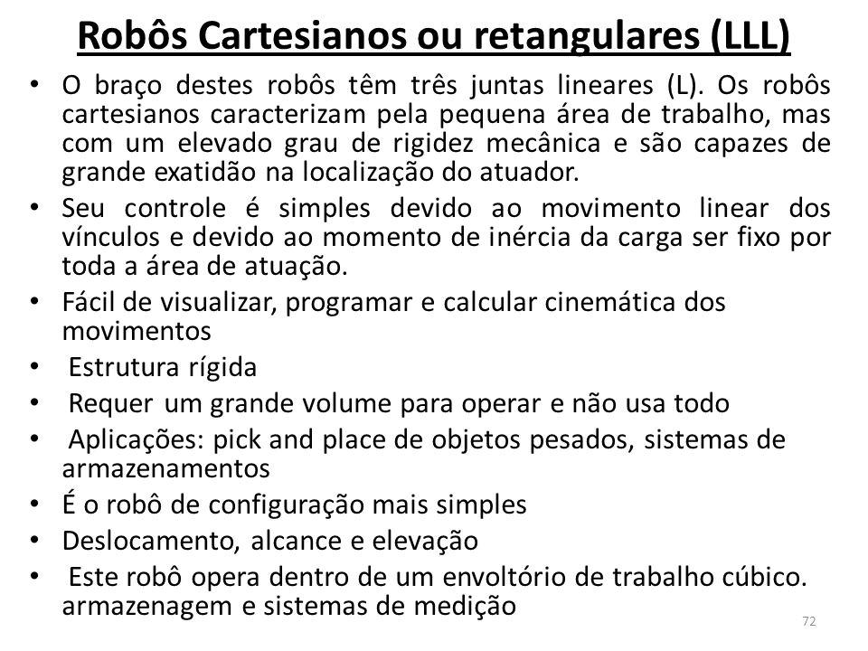 Robôs Cartesianos ou retangulares (LLL)
