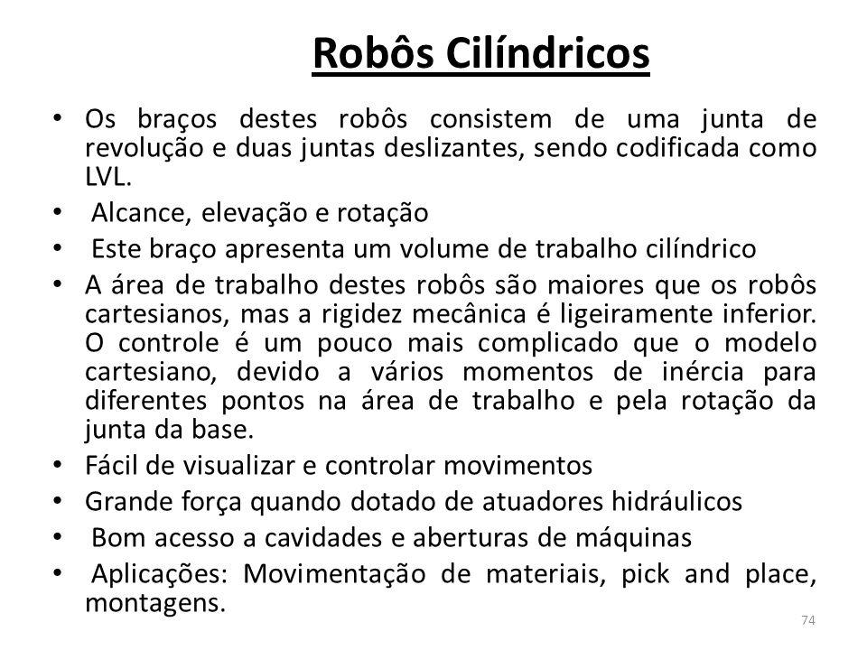 Robôs Cilíndricos Os braços destes robôs consistem de uma junta de revolução e duas juntas deslizantes, sendo codificada como LVL.