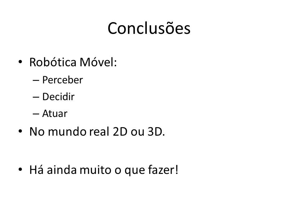 Conclusões Robótica Móvel: No mundo real 2D ou 3D.