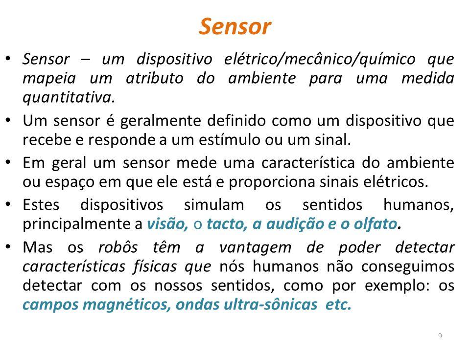 Sensor Sensor – um dispositivo elétrico/mecânico/químico que mapeia um atributo do ambiente para uma medida quantitativa.