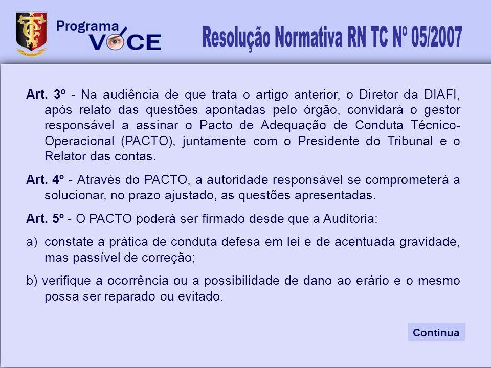 Resolução Normativa RN TC Nº 05/2007