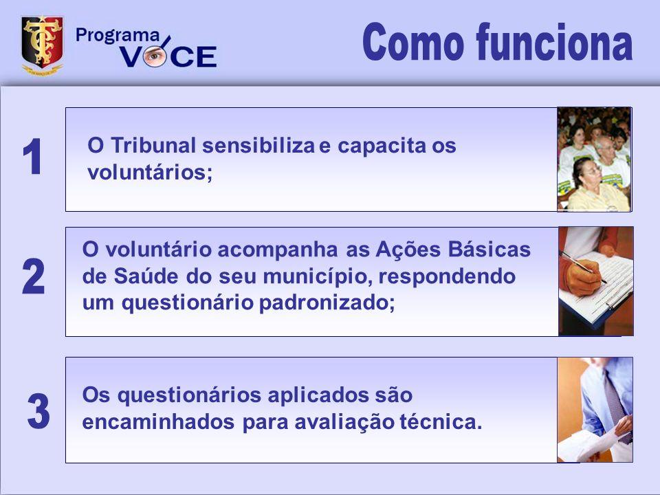 Como funciona 1 2 3 O Tribunal sensibiliza e capacita os voluntários;