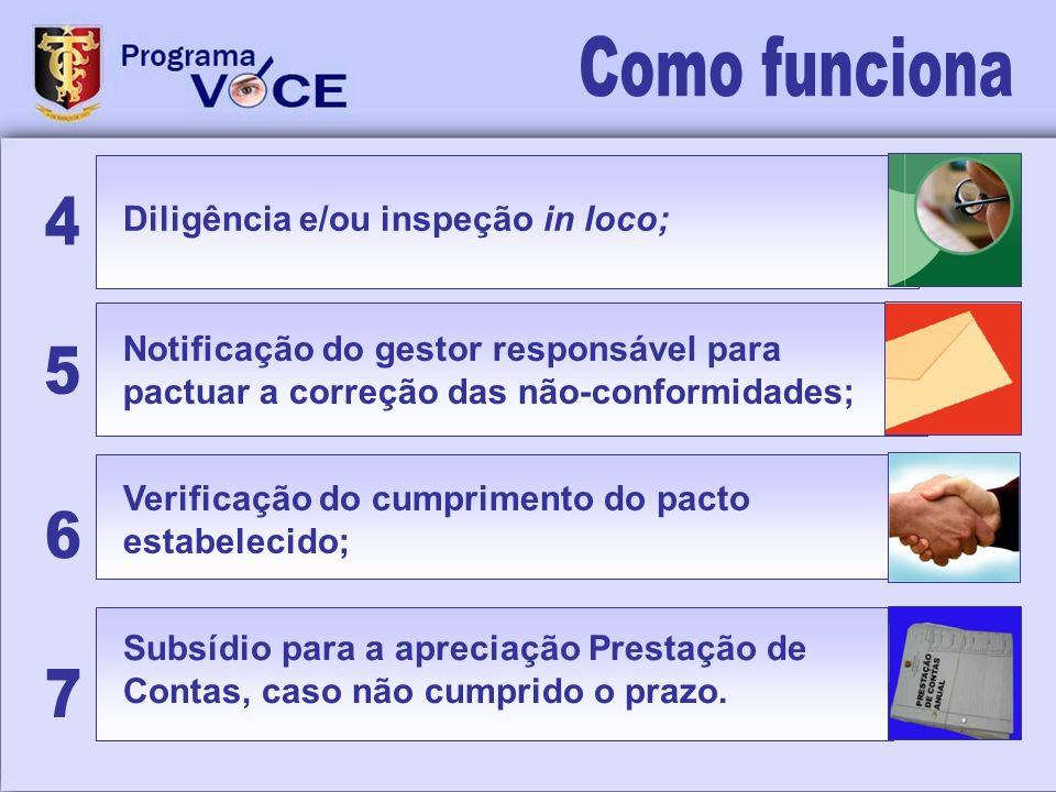 Como funciona 4 5 6 7 Diligência e/ou inspeção in loco;
