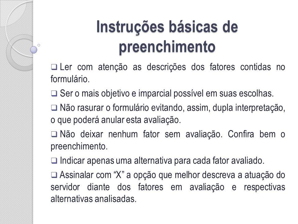 Instruções básicas de preenchimento