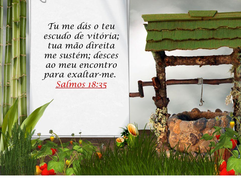 Tu me dás o teu escudo de vitória; tua mão direita me sustém; desces ao meu encontro para exaltar-me. Salmos 18:35