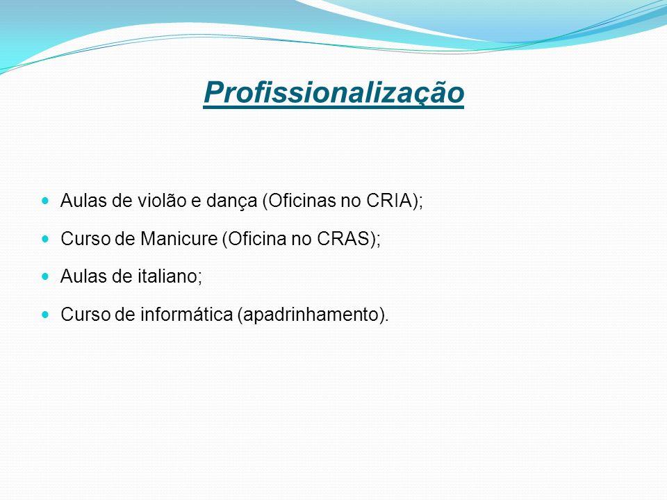 Profissionalização Aulas de violão e dança (Oficinas no CRIA);