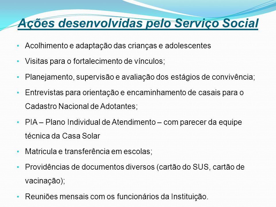 Ações desenvolvidas pelo Serviço Social