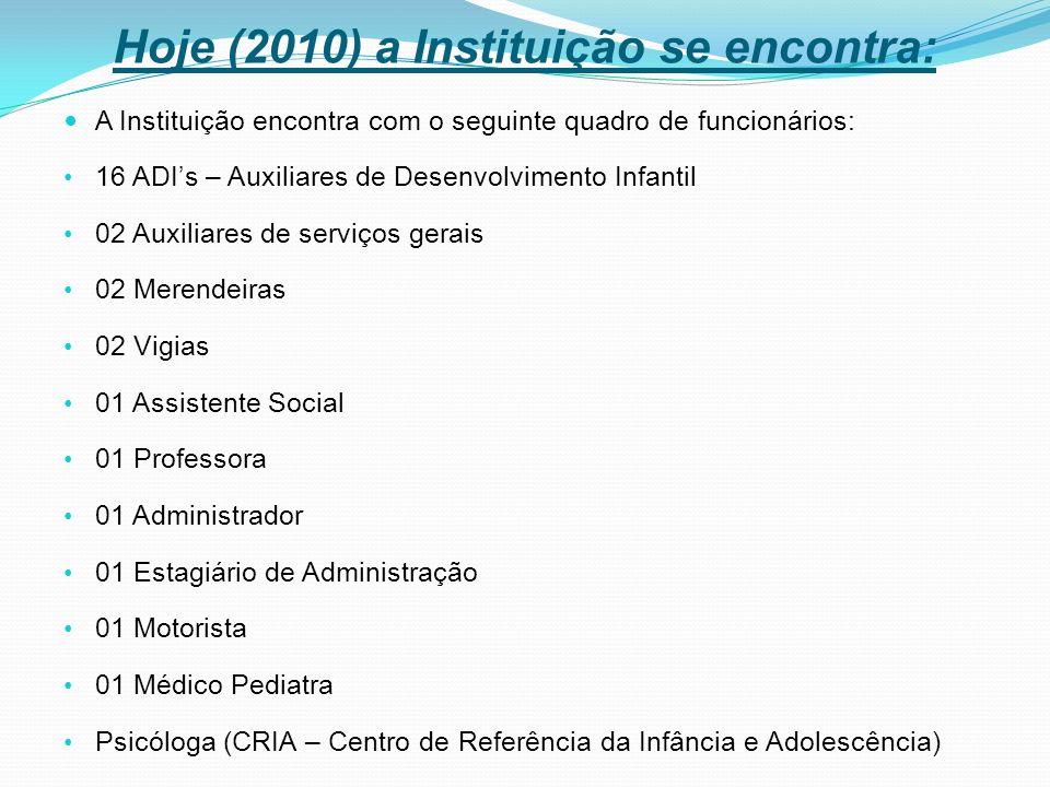 Hoje (2010) a Instituição se encontra: