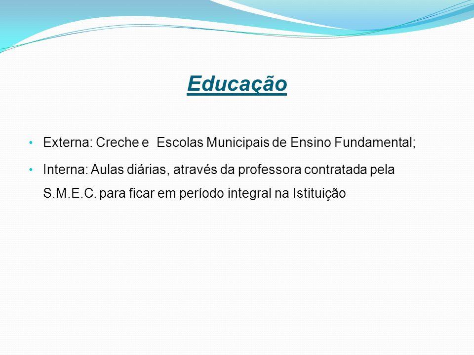 Educação Externa: Creche e Escolas Municipais de Ensino Fundamental;