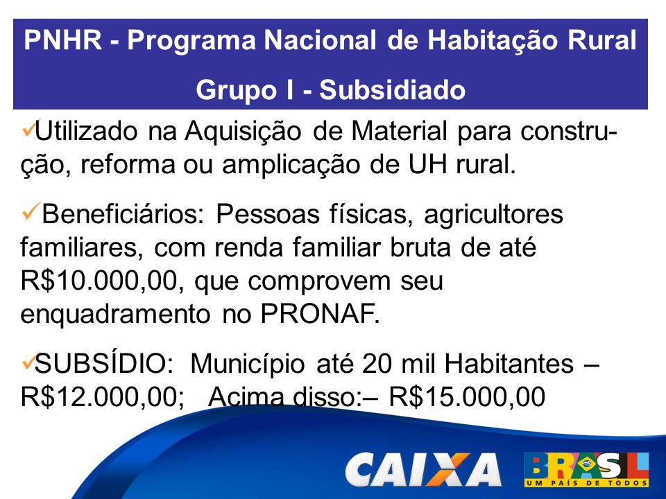 PNHR - Programa Nacional de Habitação Rural