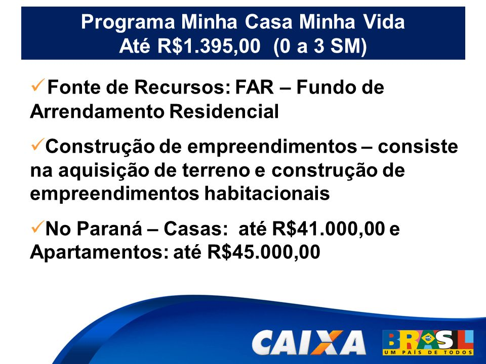 Programa Minha Casa Minha Vida Até R$1.395,00 (0 a 3 SM)