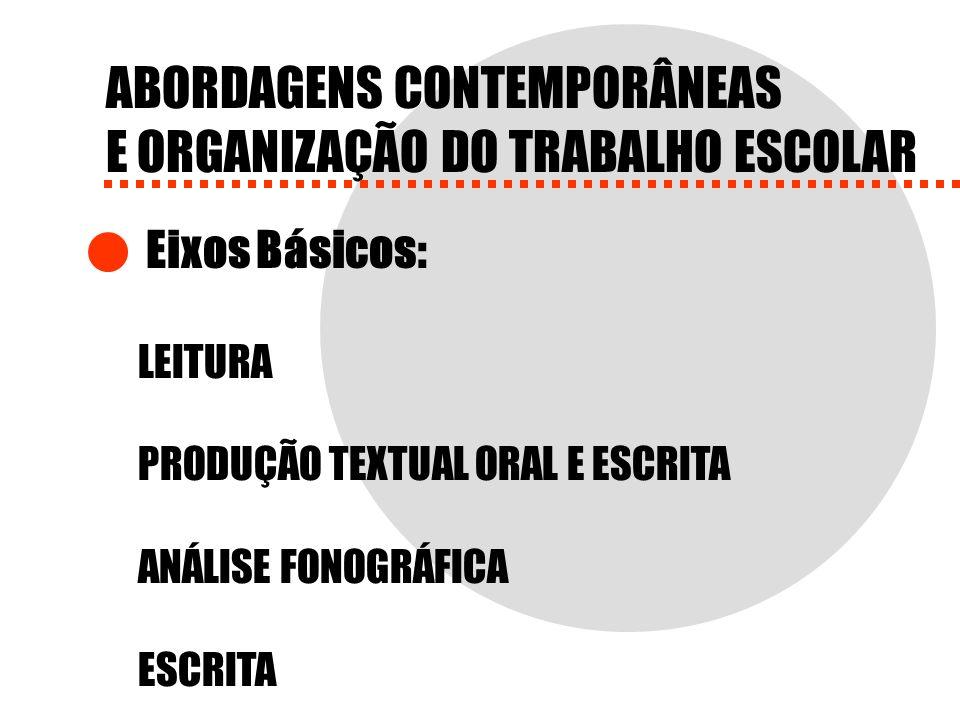 ABORDAGENS CONTEMPORÂNEAS E ORGANIZAÇÃO DO TRABALHO ESCOLAR