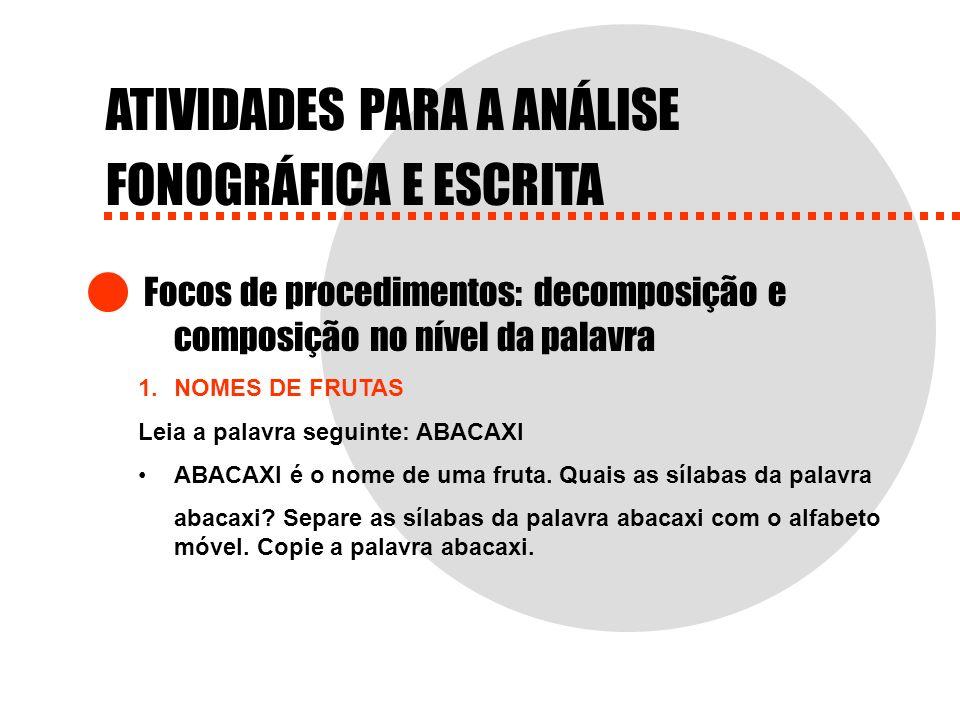 ATIVIDADES PARA A ANÁLISE FONOGRÁFICA E ESCRITA