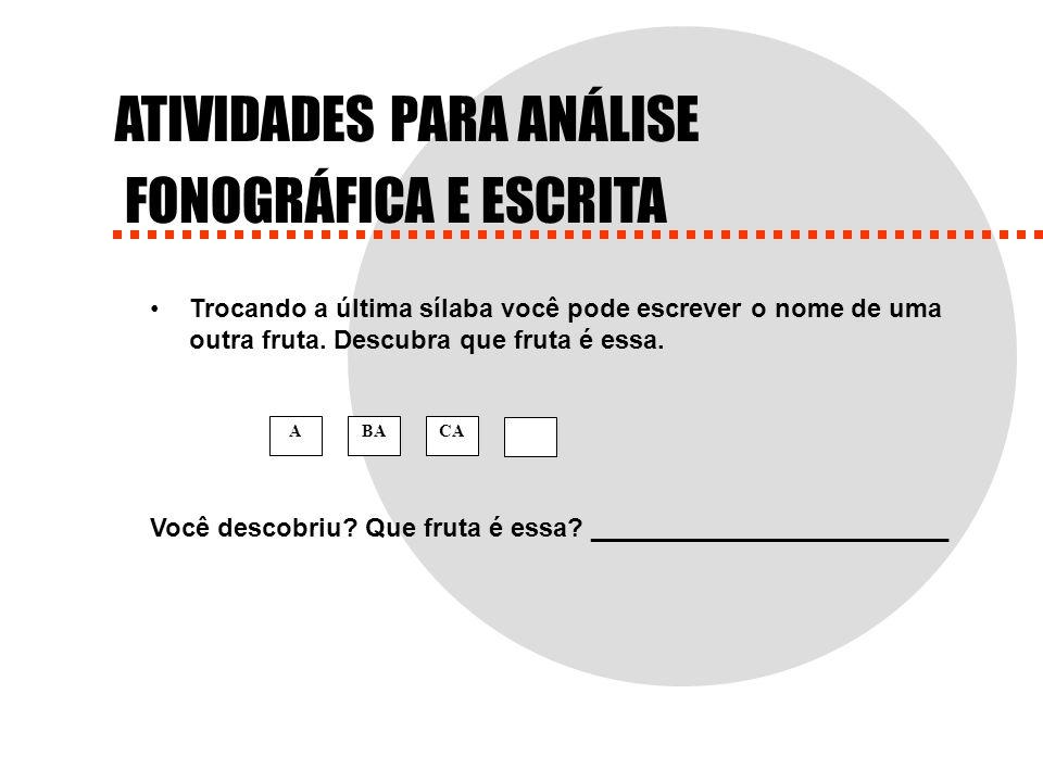 ATIVIDADES PARA ANÁLISE FONOGRÁFICA E ESCRITA