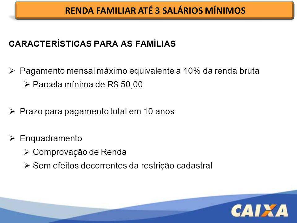 RENDA FAMILIAR ATÉ 3 SALÁRIOS MÍNIMOS