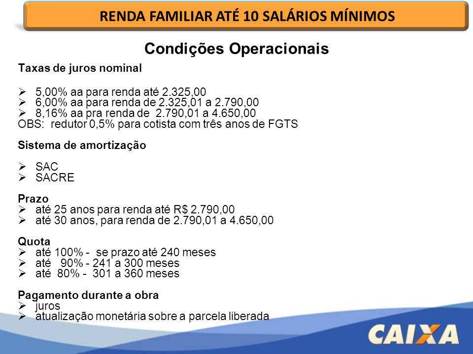 RENDA FAMILIAR ATÉ 10 SALÁRIOS MÍNIMOS Condições Operacionais