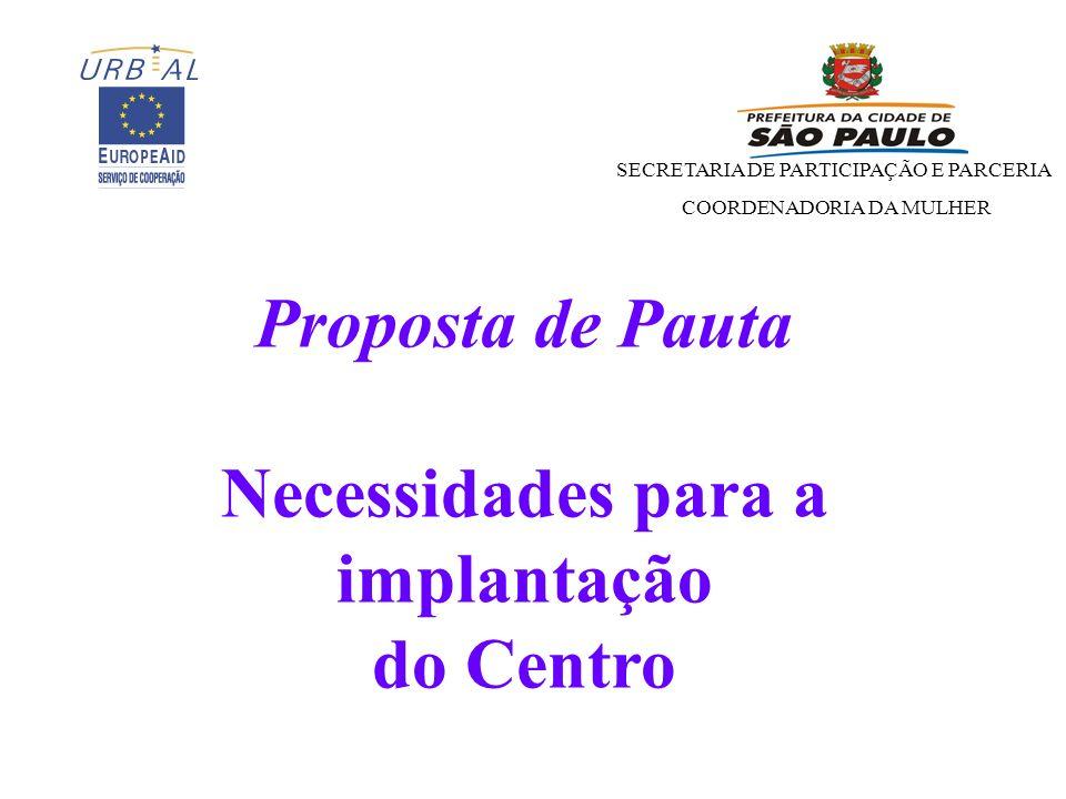 Proposta de Pauta Necessidades para a implantação do Centro