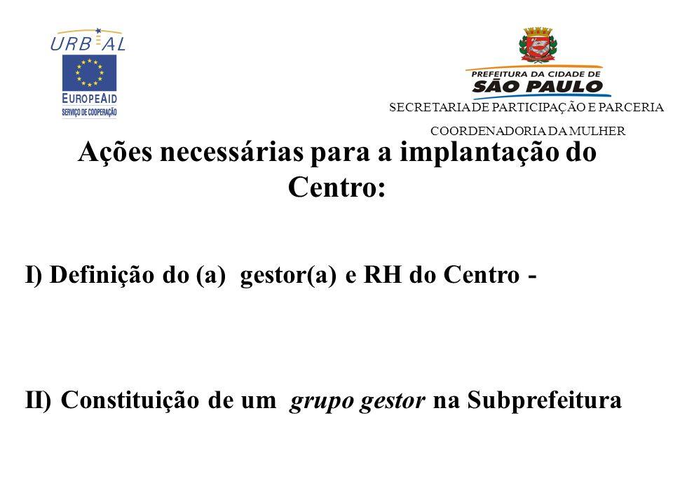 Ações necessárias para a implantação do Centro: