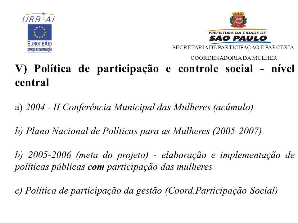 V) Política de participação e controle social - nível central