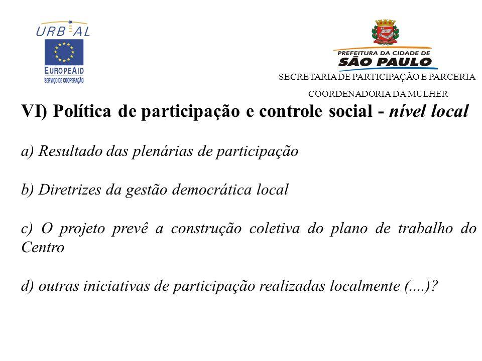 VI) Política de participação e controle social - nível local