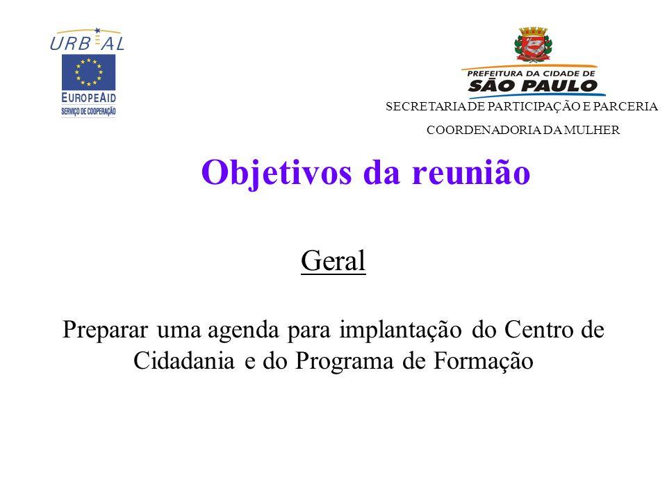 Objetivos da reunião Geral Preparar uma agenda para implantação do Centro de Cidadania e do Programa de Formação