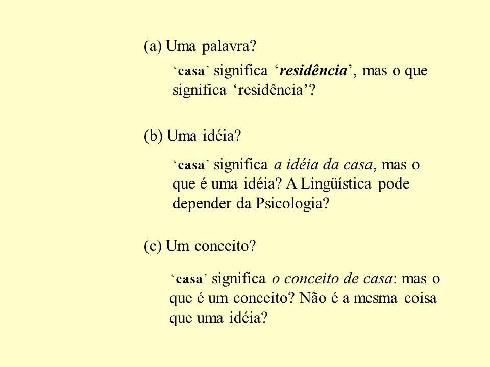 (a) Uma palavra (b) Uma idéia (c) Um conceito