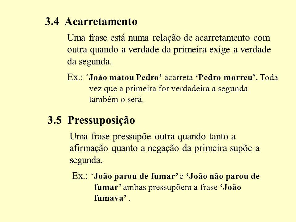 3.4 Acarretamento 3.5 Pressuposição