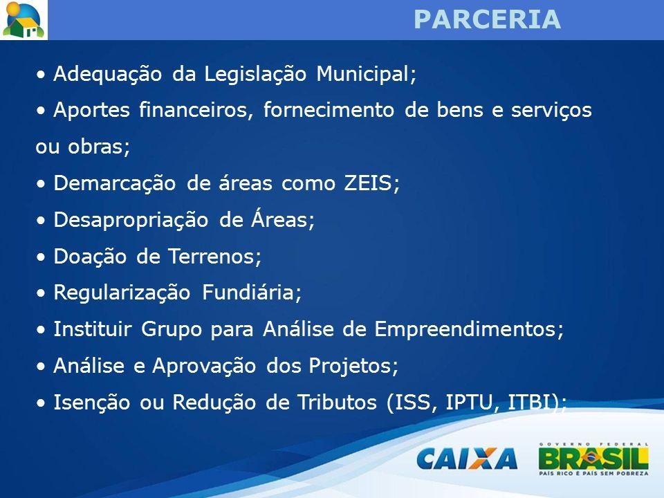 PARCERIA Adequação da Legislação Municipal;