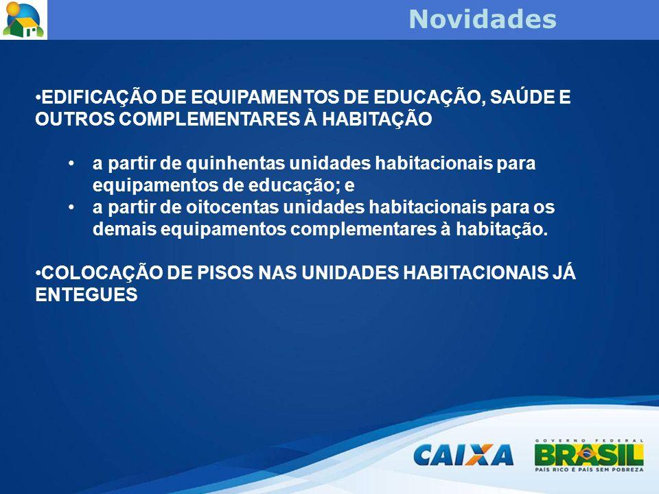 Novidades EDIFICAÇÃO DE EQUIPAMENTOS DE EDUCAÇÃO, SAÚDE E OUTROS COMPLEMENTARES À HABITAÇÃO.
