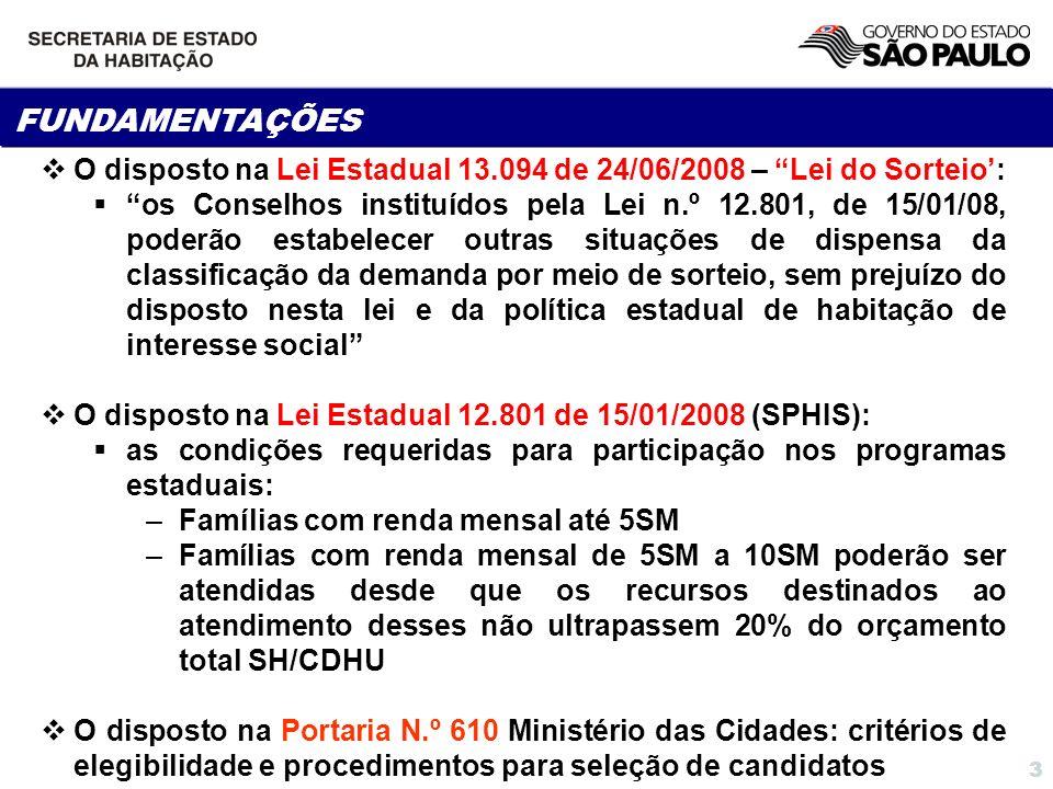 FUNDAMENTAÇÕES O disposto na Lei Estadual 13.094 de 24/06/2008 – Lei do Sorteio':