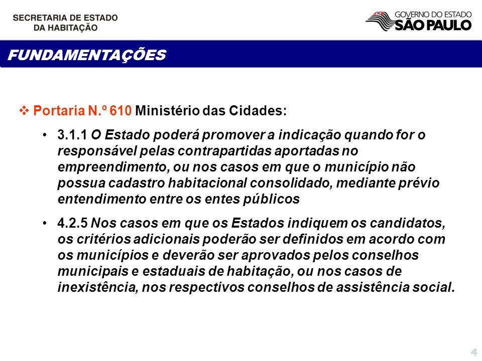 FUNDAMENTAÇÕES Portaria N.º 610 Ministério das Cidades: