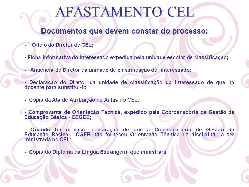 Documentos que devem constar do processo: