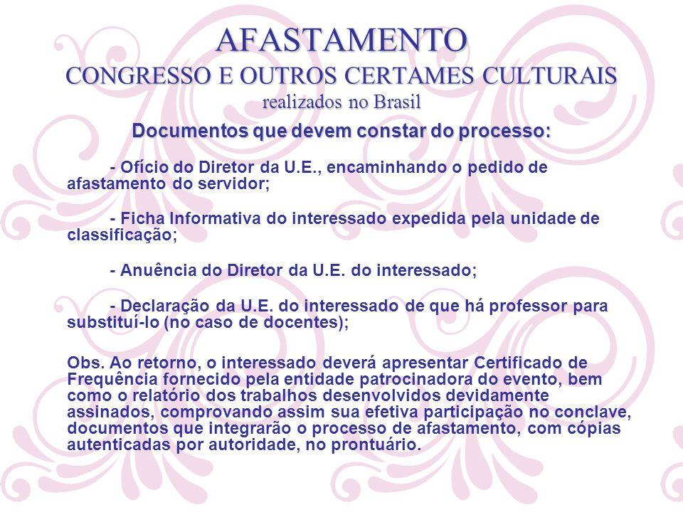 AFASTAMENTO CONGRESSO E OUTROS CERTAMES CULTURAIS realizados no Brasil