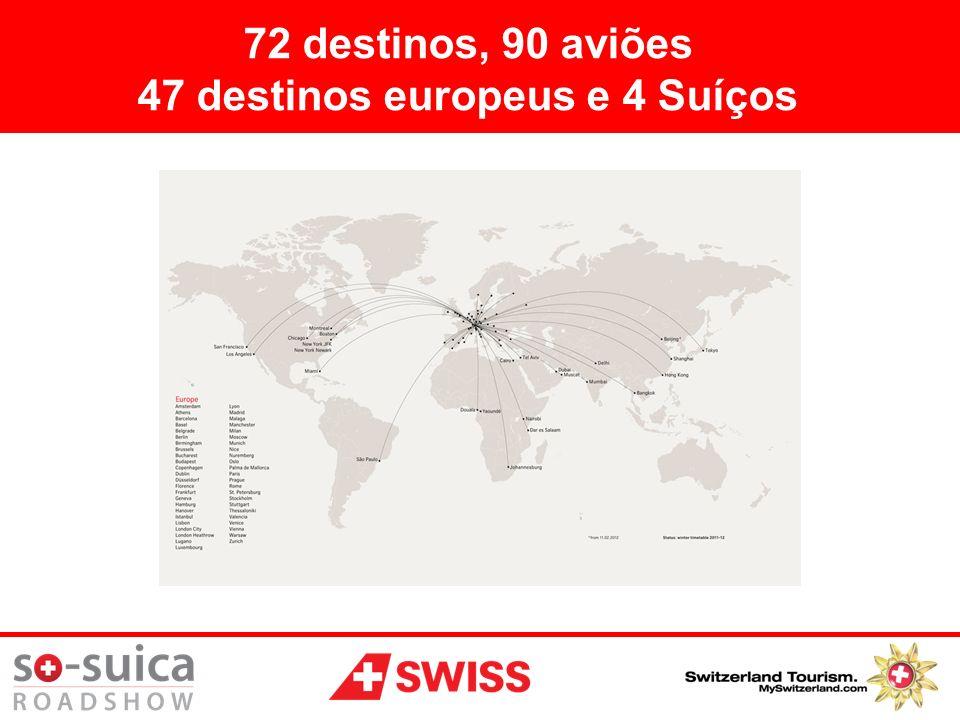 47 destinos europeus e 4 Suíços