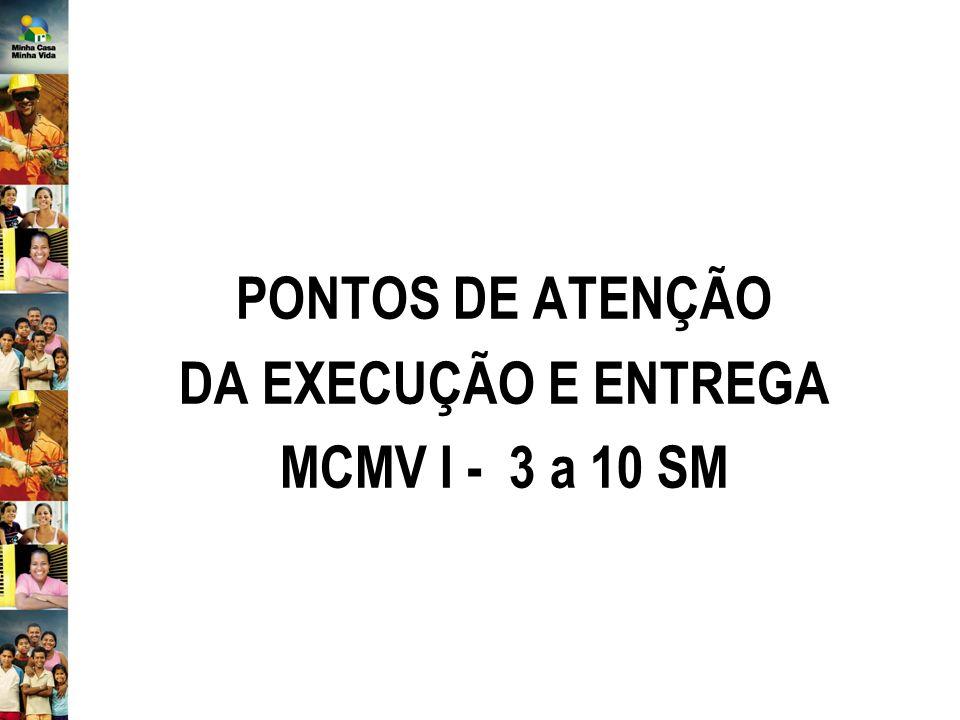 PONTOS DE ATENÇÃO DA EXECUÇÃO E ENTREGA MCMV I - 3 a 10 SM