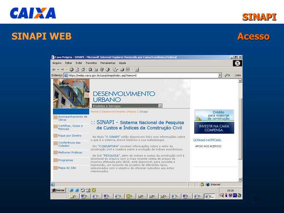 SINAPI WEB Acesso