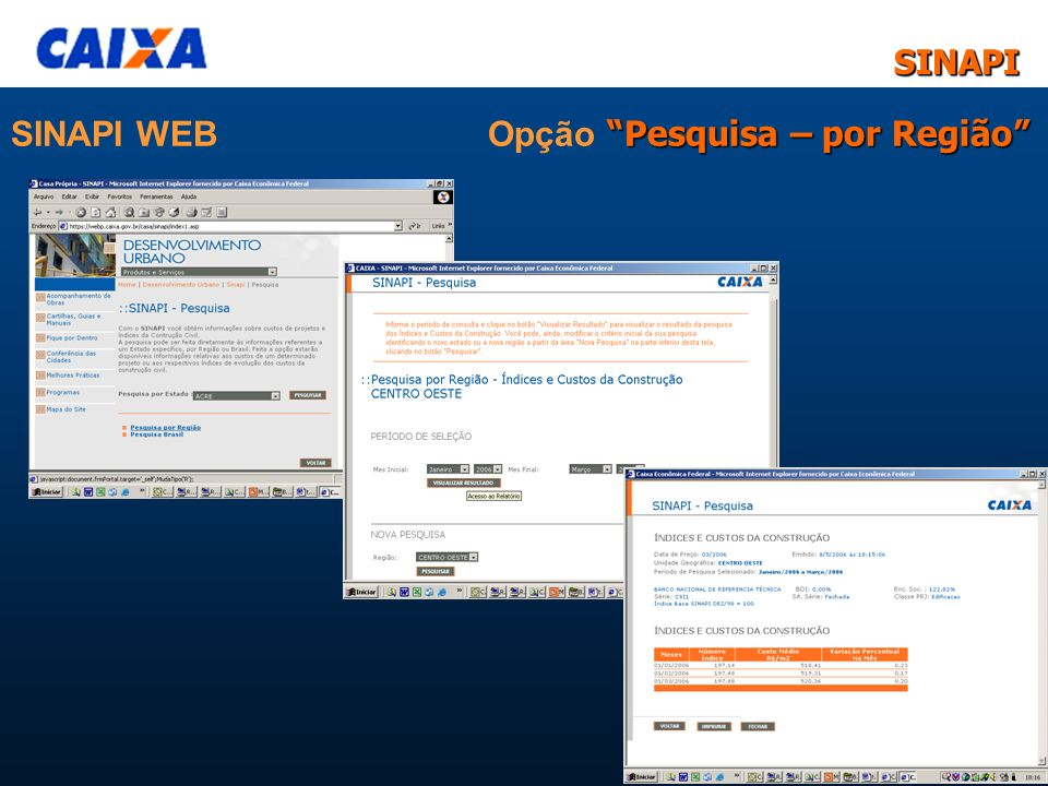 SINAPI WEB Opção Pesquisa – por Região